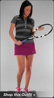 Nike Seamless Polo and Straight Knit Skirt Tennis Outfit