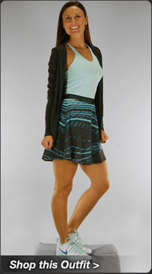 Nike Maria Skirt and Tank with Knit Sweater Jacket Tennis Outfit