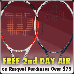 Free 2nd day air shipping on racquet orders over $75