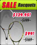 Offering low prices on clearance tennis racquets