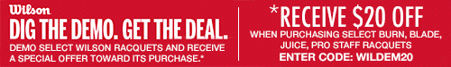 Save $20 on Select Wilson Tennis Racquets