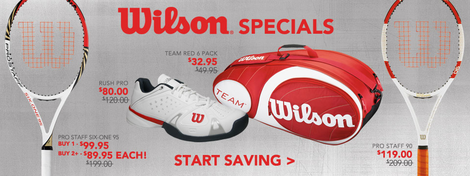 Save on Wilson Tennis Racquets, Tennis Shoes, and Tennis Bags