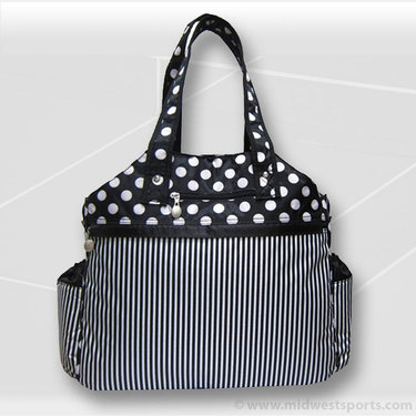 Jet Pac Polka Dot and Pin Stripe Tennis Tote