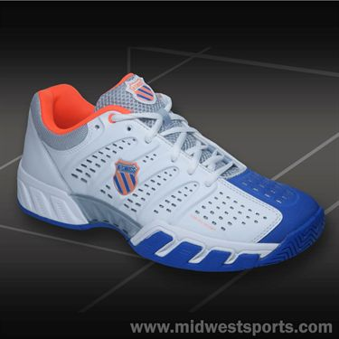 K-Swiss Big Shot Light Mens Tennis Shoe-White/Blue/Safety Orange, 03027199