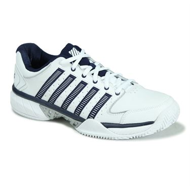 K Swiss Hyper Court Express Leather Mens Clay Tennis Shoe - White/Navy/Silver