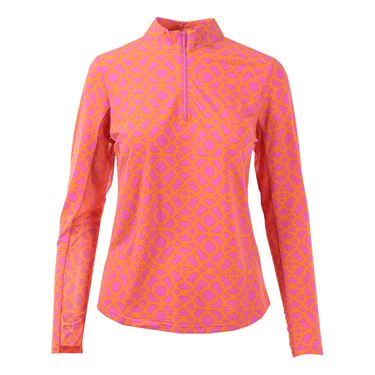 Icikuls Long Sleeve Mock Top - Lattice Pink/Orange