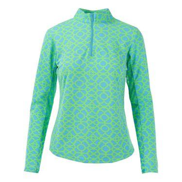 Icikuls Long Sleeve Mock Top - Lattice Turquoise/Lime
