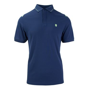 K Swiss Backcourt Polo - Insignia Blue/Paradise Green