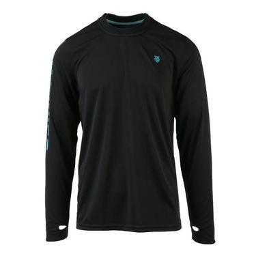 K Swiss Long Sleeve Crew - Black/Veridian Green