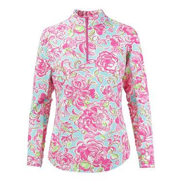 Icikuls Hannas Garden Long Sleeve Mock Top - Pink