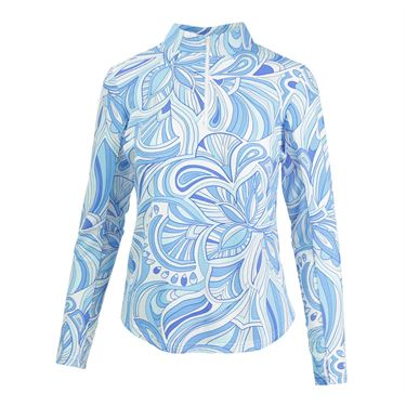 Icikuls Camila Long Sleeve Mock Top - Blue