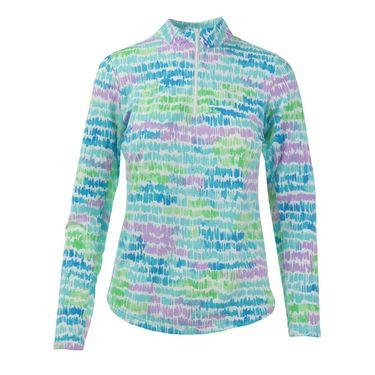 Icikuls Long Sleeve Mock Top - Brushed Monet Turquoise