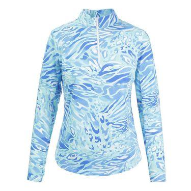 Icikuls Summer Skin Long Sleeve Mock Top - Blue