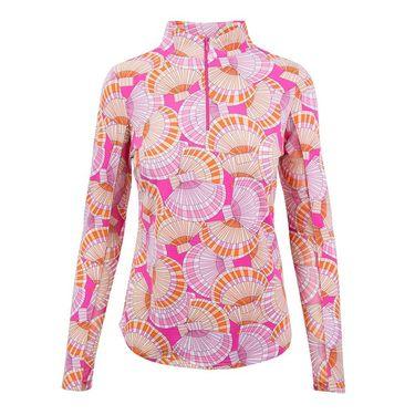 Ibkul Long Sleeve 1/4 Zip Mock Top - Lite Pink
