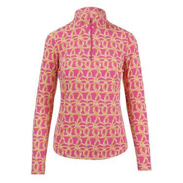 Ibkul Long Sleeve 1/4 Zip Mock Top - Pink