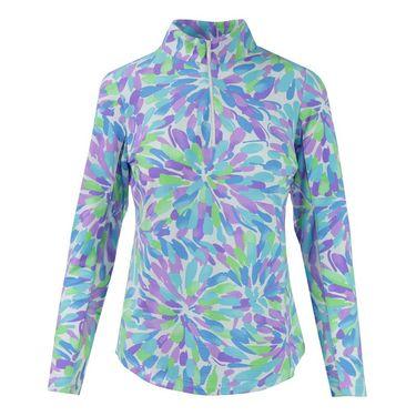 Icikuls Flower Splash Long Sleeve Mock Top - Violet