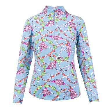 Ibkul Long Sleeve 1/4 Zip Mock Top -  Peri/Pink