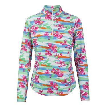 Icikuls Mias Blossom Long Sleeve Mock Top - Multi/Pink