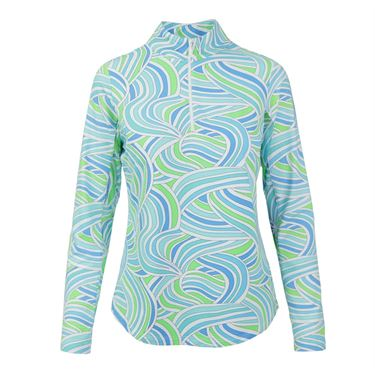 Icikuls Liza Long Sleeve Mock Top - Blue Multi