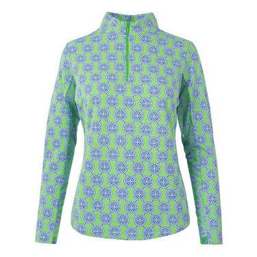 Ibkul Long Sleeve 1/4 Zip Mock Top - Aida Green/Navy