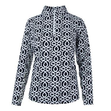 Ibkul Long Sleeve 1/4 Zip Mock Top - Keleigh Black/White
