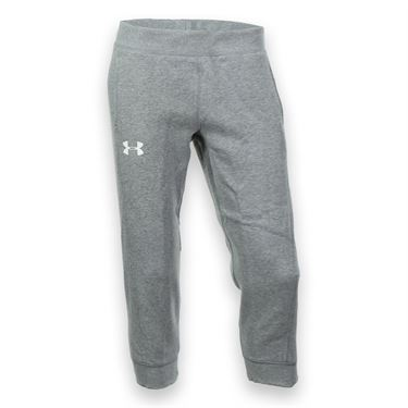Under Armour Girls Rival Cotton Capri - True Gray Heather/White