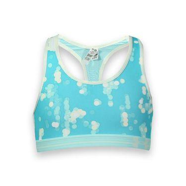 Under Armour Girls Alpha Printed Sports Bra - Breathtaking Blue/Veneer/Tuft White