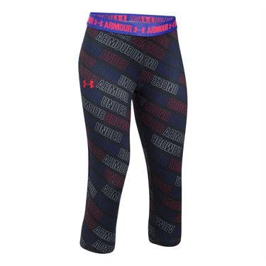 Under Armour Girls Heat Gear Printed Capri - Black