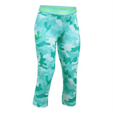 Under Armour Girls Heat Gear Printed Capri - Blue Infinity
