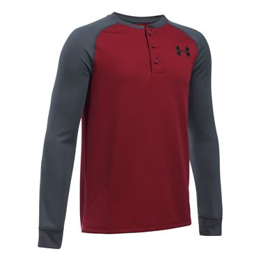Under Armour Boys Waffle Henley - Cardinal Red