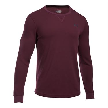 Under Armour Waffle Longsleeve Crew - Raisin Red/Stealth Gray