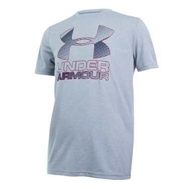 Under Armour Boys Big Logo Hybrid 2.0 Crew - Steel/Midnight Navy/Black Currant