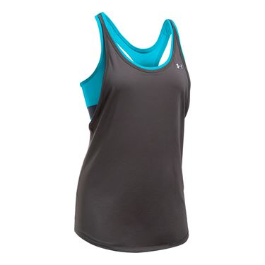 Under Armour 2 In 1 Tank - Charcoal/Island Blue