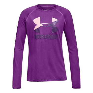 Under Armour Girls Big Logo Slash Long Sleeve Top - Purple Rave/Pop Pink