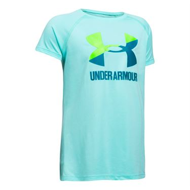 Under Armour Girls Solid Big Logo Tee - Infinity Blue