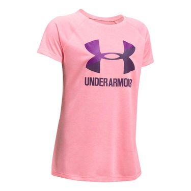 Under Armour Girls Novelty Big Logo Tee - Pop Pink/Purple Rave