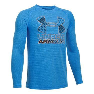 Under Armour Boys Hybrid Big Logo Long Sleeve Tee - Mako Blue