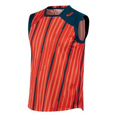 Asics Athlete Sleeveless Top-Cone Orange Volley Stripe