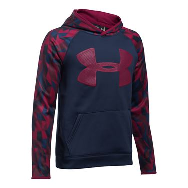 Under Armour Boys Big Logo Printed Hoody - Midnight Navy/Black Currant