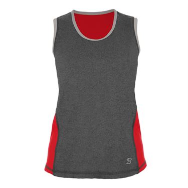 Sofibella Conquest Classic Plus Size Sleeveless Top - Grey/Red