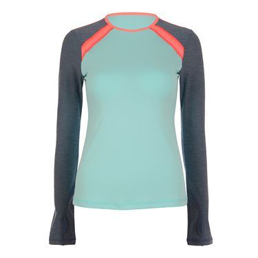 Sofibella Fiji Plus Size Classic Long Sleeve Top - Aqua/Fiji Night