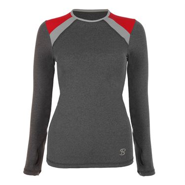 Sofibella Conquest Classic Plus Size Long Sleeve Top - Steel Grey
