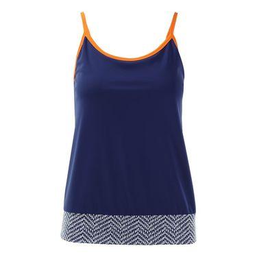 Jerdog Sea Breeze Slim Neck Top - Navy/Orange
