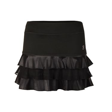Sofibella Triple Ruffle 13 Inch Skirt - Black