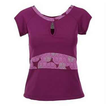 Jerdog Bubble Cap Sleeve Top - Plum/Print 16906 DB1