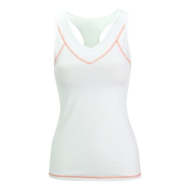 Lija Monumental Compression Cross Back Tank - White/Persimmon