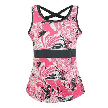 Jerdog Neon Bloom Cross Tank - Print/Neon Pink