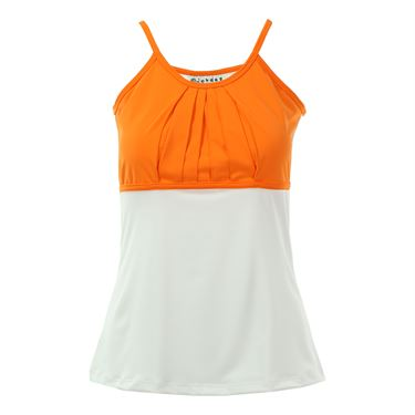 Jerdog Berry Chill Pleated Tank - White/Tangerine