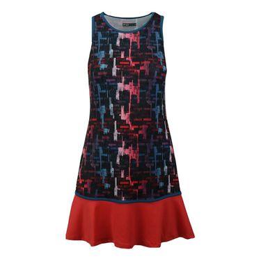 Lija Intense Focus Shake It Up Dress - Tile Print/Lava Red