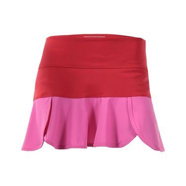 Jerdog Mixed Berries Scalloped Swing Skirt - Raspberry/Red